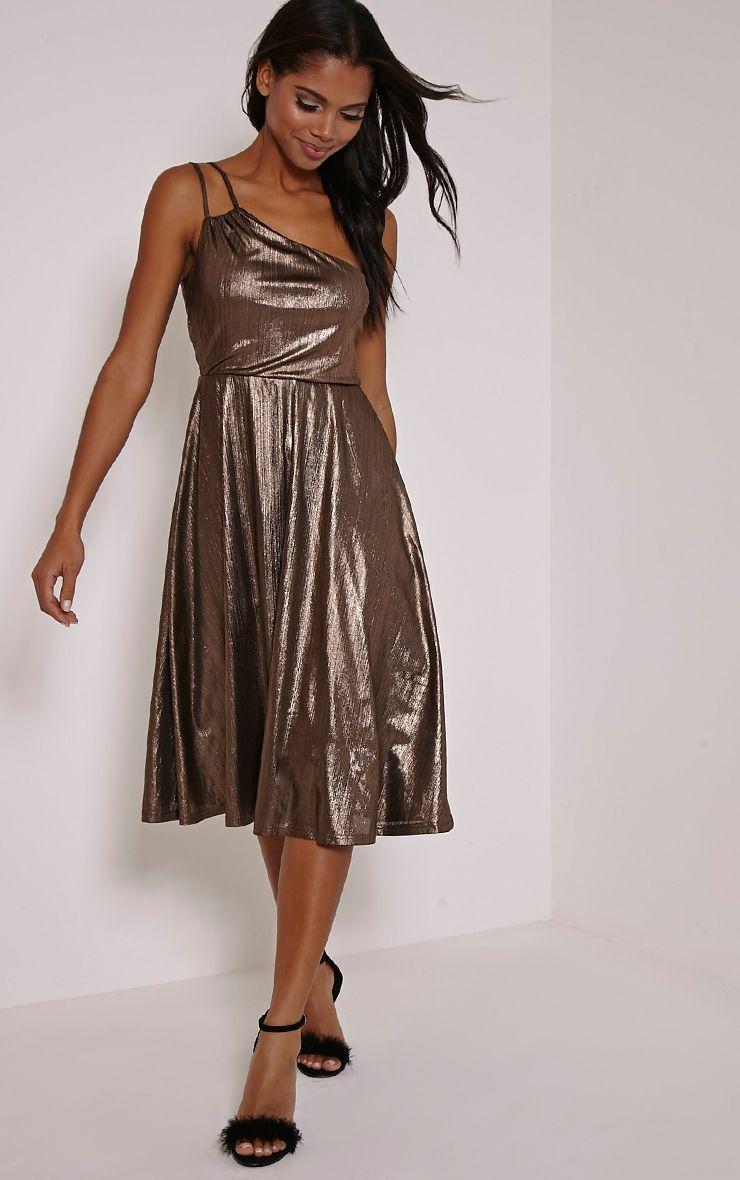 Stephy Bronze Metallic Skater Dress 1