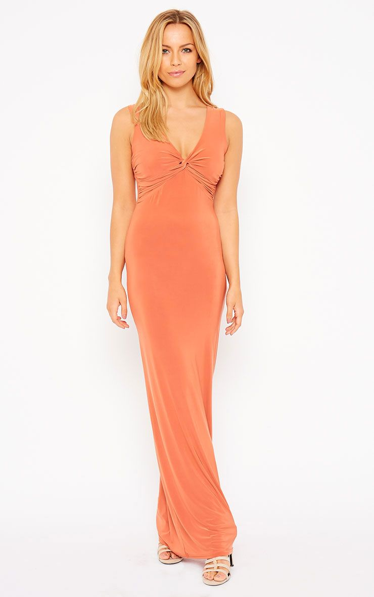 Zena Rust Knot Front Slinky Maxi Dress 1
