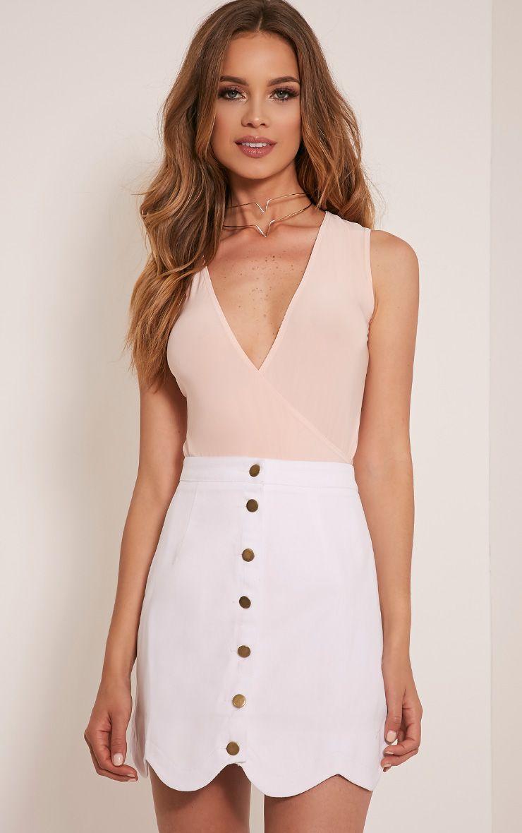Leigha White Scallop Hem Denim Mini Skirt 1
