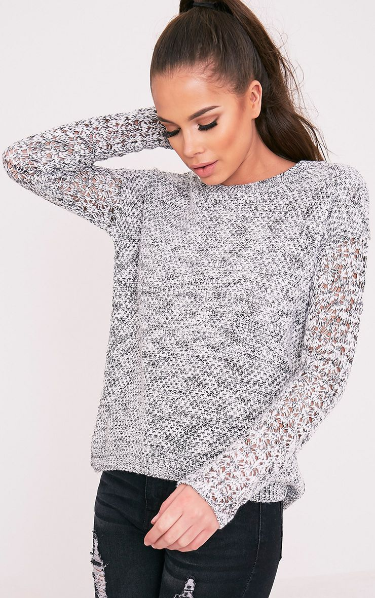 Promise Black Open Weave Sleeve Jumper