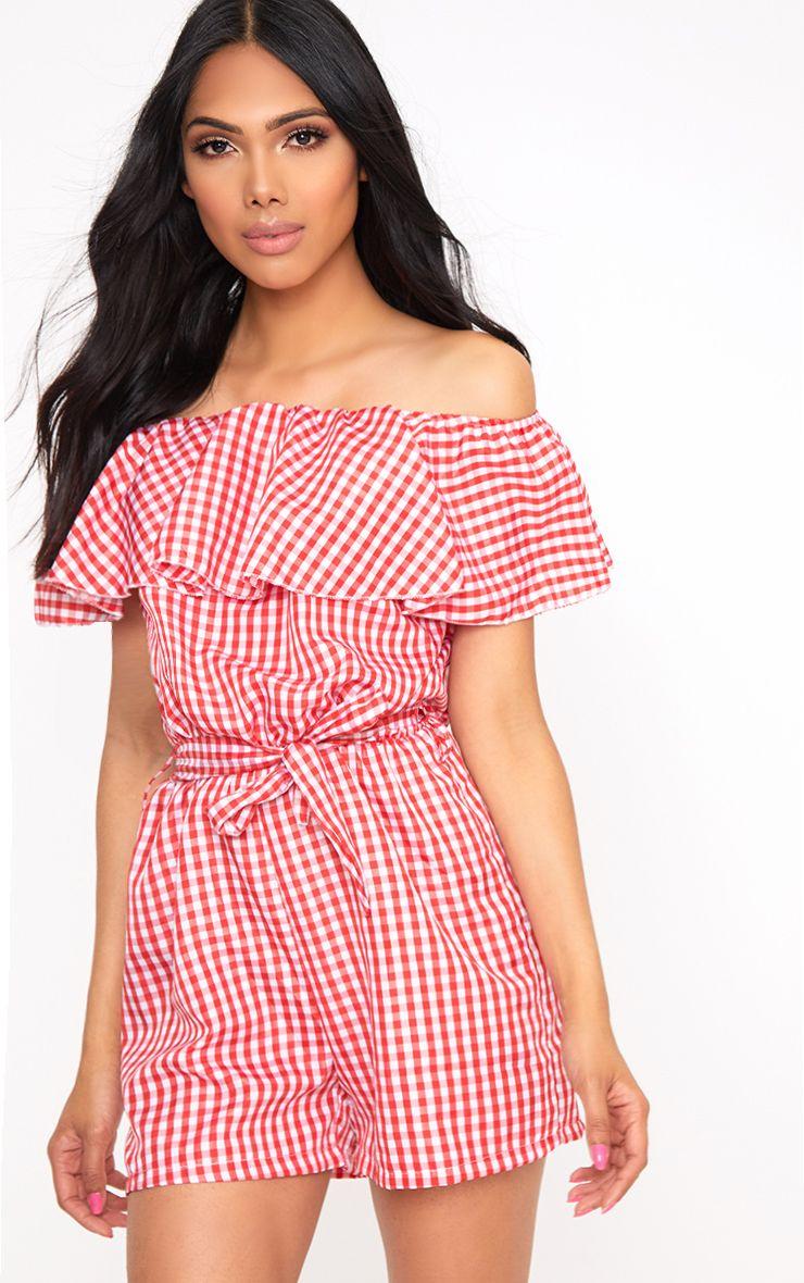 Red Gingham Bardot Shirt Playsuit