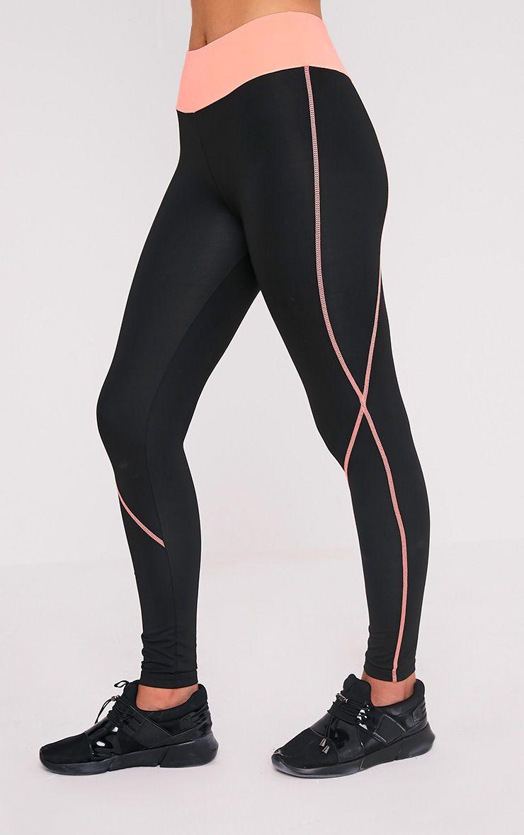 Elizabeth Peach Panelled Gym Leggings 4