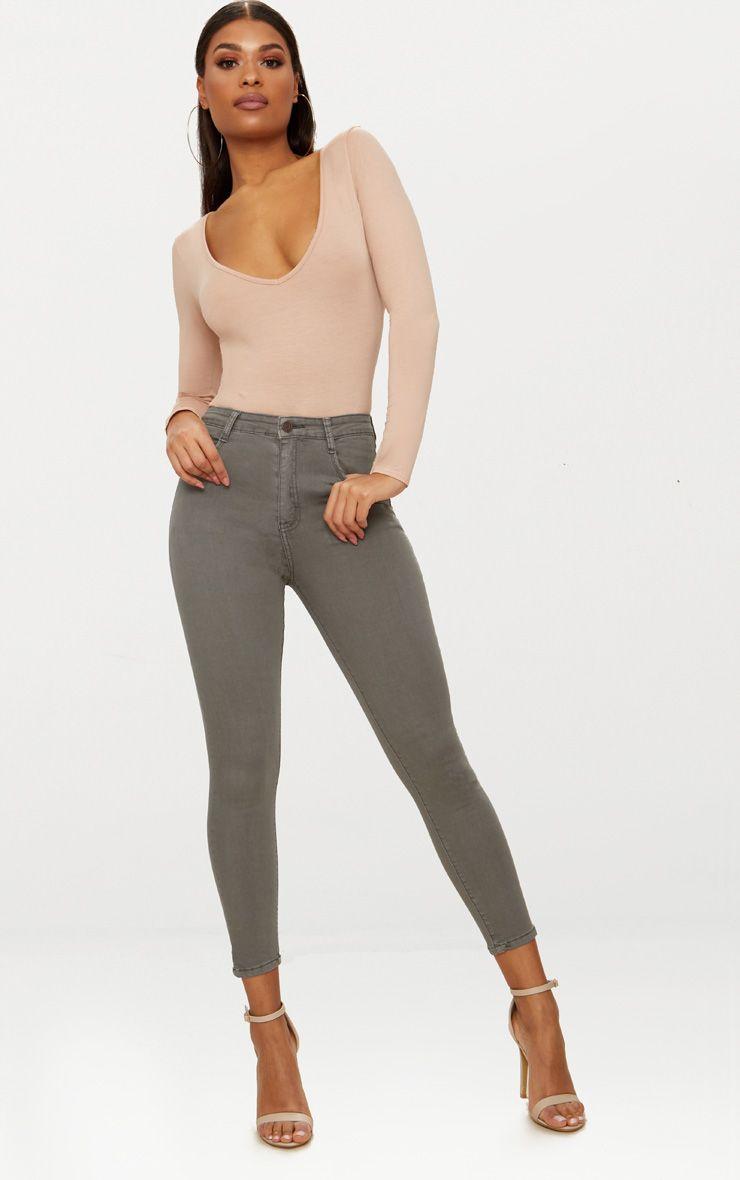 Light Khaki 5 Pocket Skinny Jean