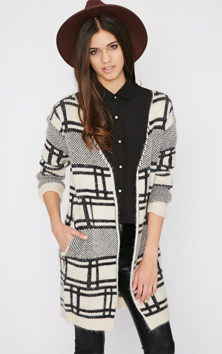 Anette White Block Print Fluffy Cardigan  1
