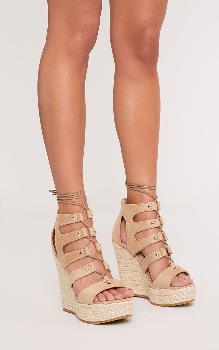 Louisella Nude Lace Up Wedges