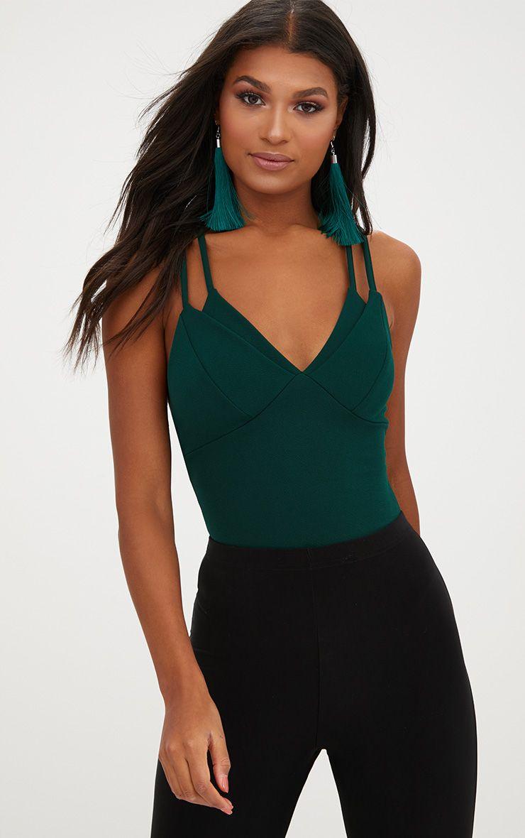 Emerald Double Strap Thong Bodysuit