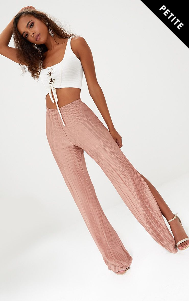 Petite Pink Pleated Split Wide Leg Trousers