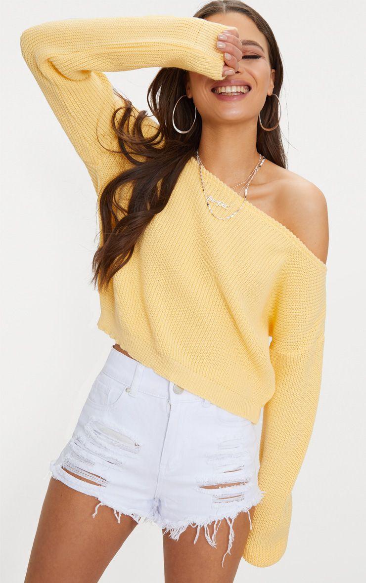 Lemon Off Shoulder Cropped Jumper