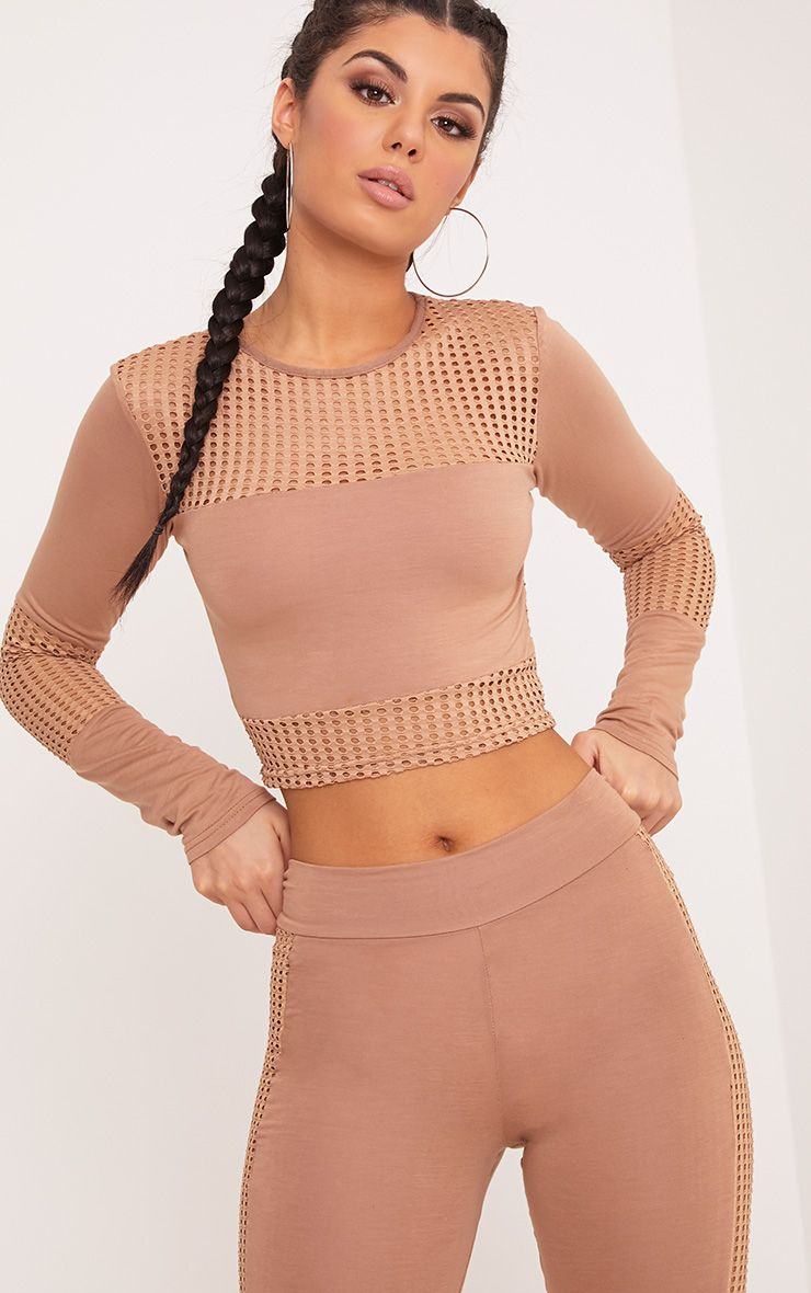Wanita Camel Fishnet Panel Long Sleeve Crop Top