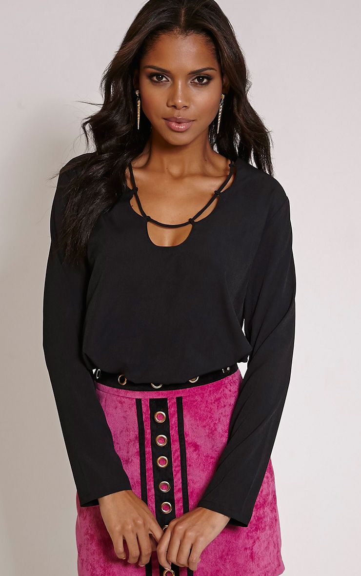 Remie Black Lace Up Floaty Blouse 1