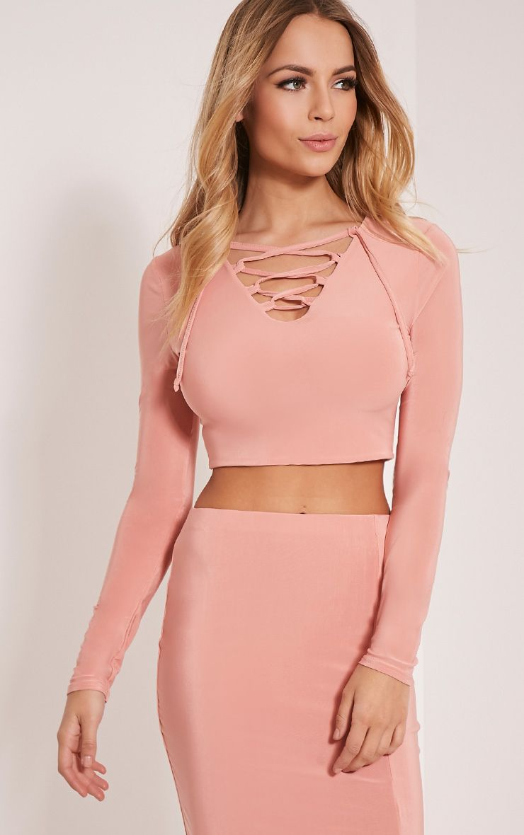 Ameria Blush Lace Up Front Crop Top 1