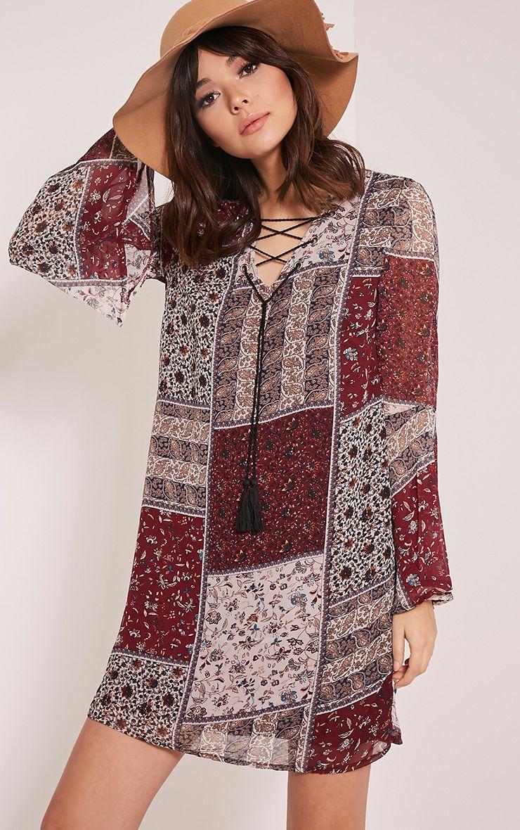 Amadia Burgundy Lace Up Printed Shift Dress 1