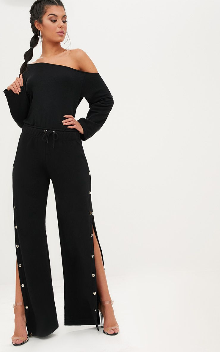 Black Loop Back Off the Shoulder Popper Leg Jumpsuit