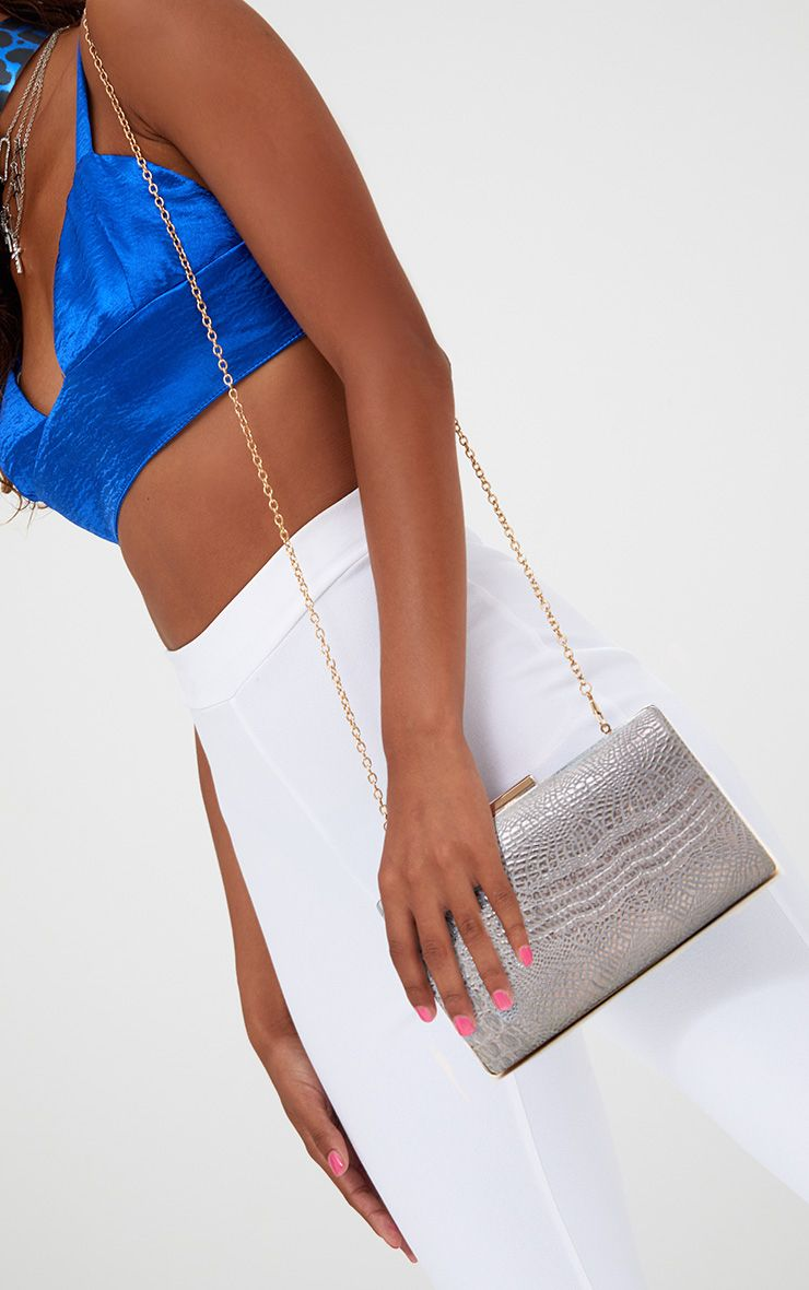 Silver Snakeskin Clutch Bag 1