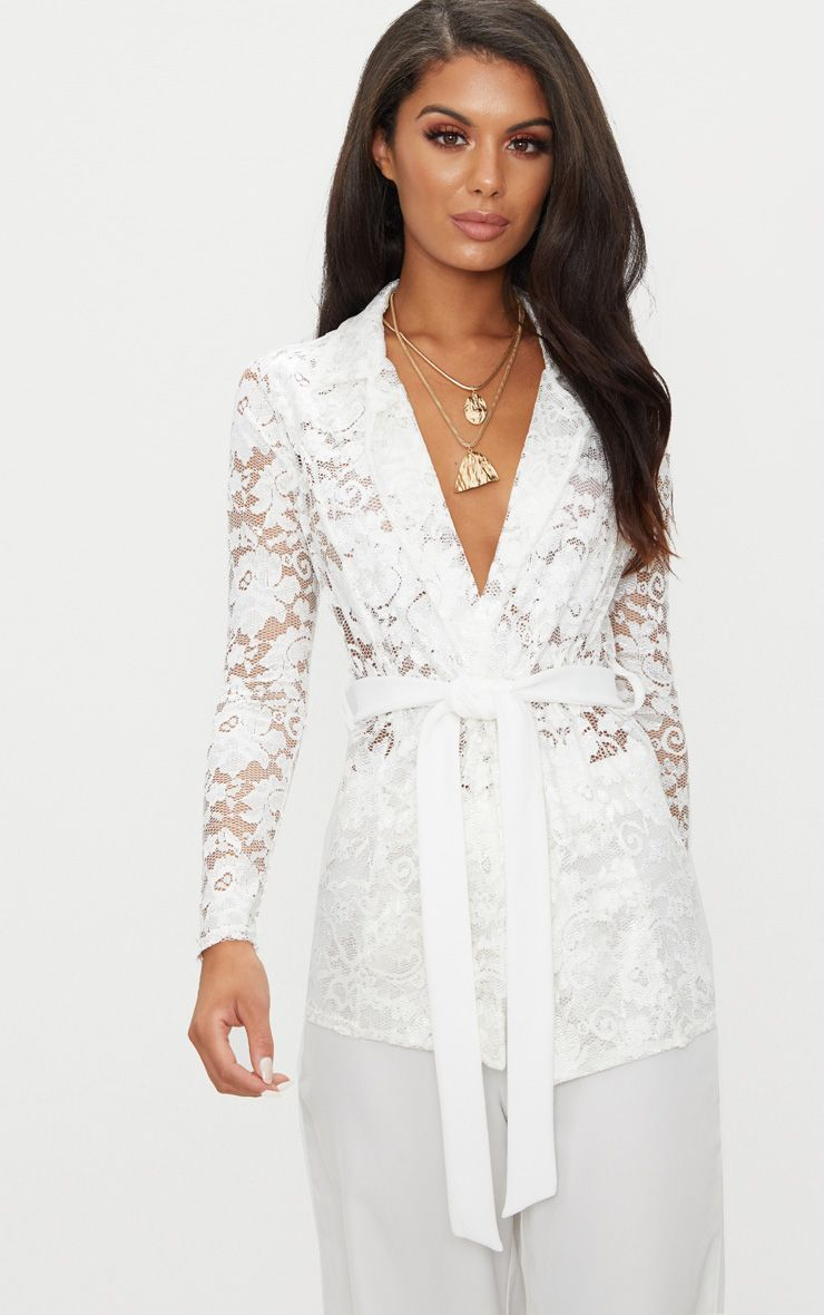 White Lace Belted Blazer