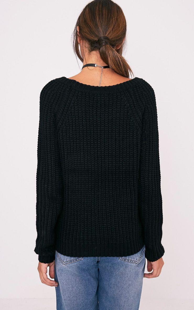 Iolanne pull tricoté épais à lacets noir 2