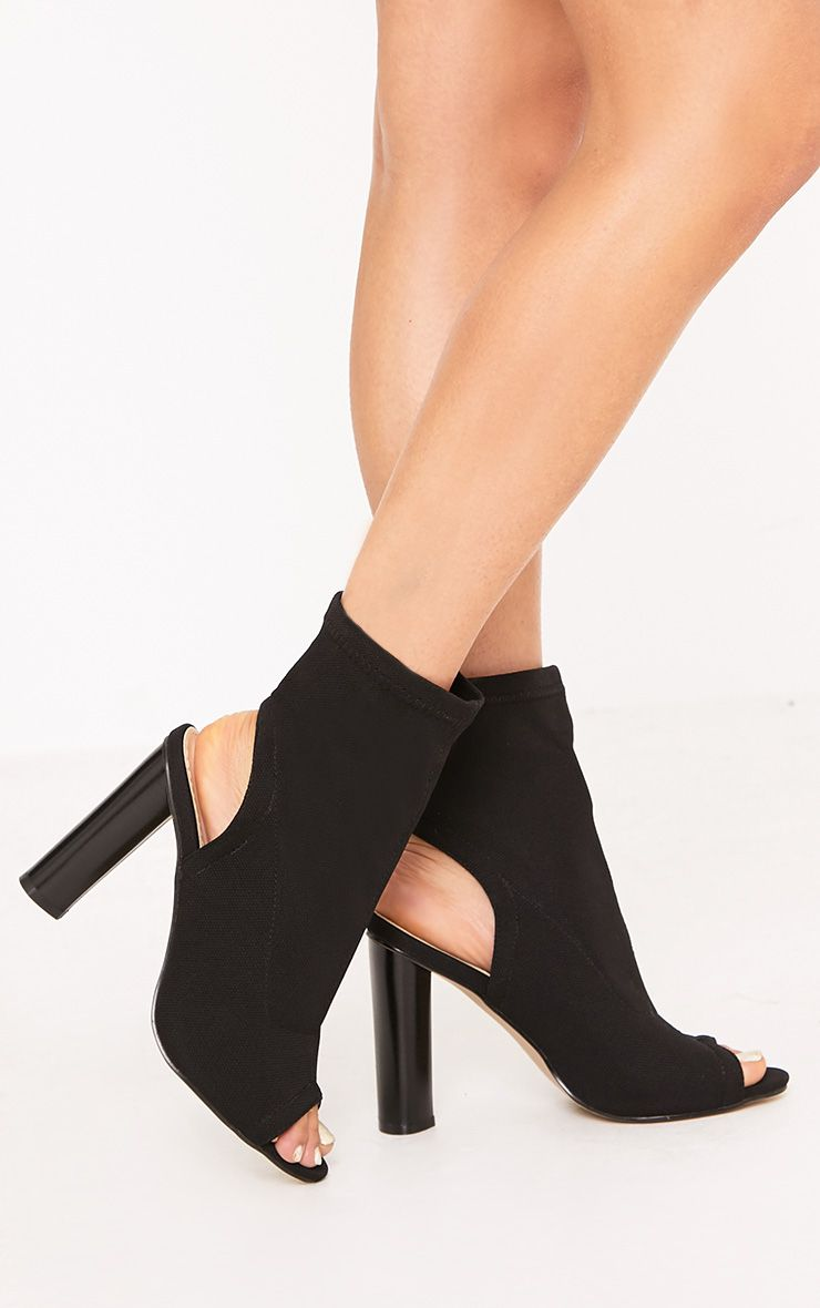 Cassidy Black Knitted Cut Out Heels