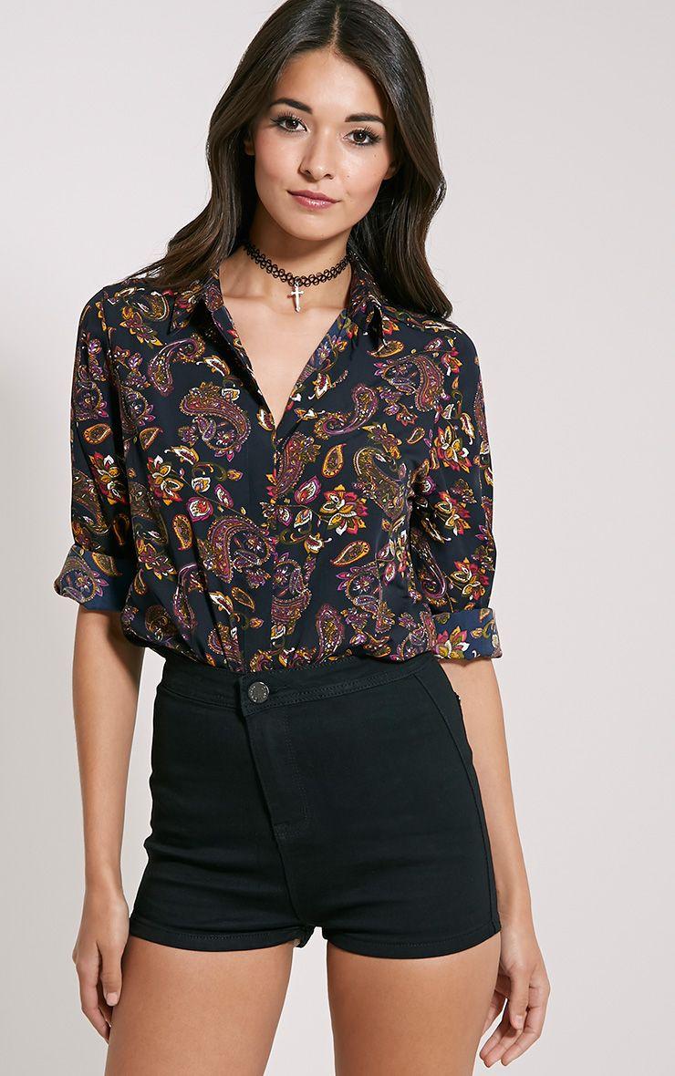 Haylie Black Paisley Shirt 1