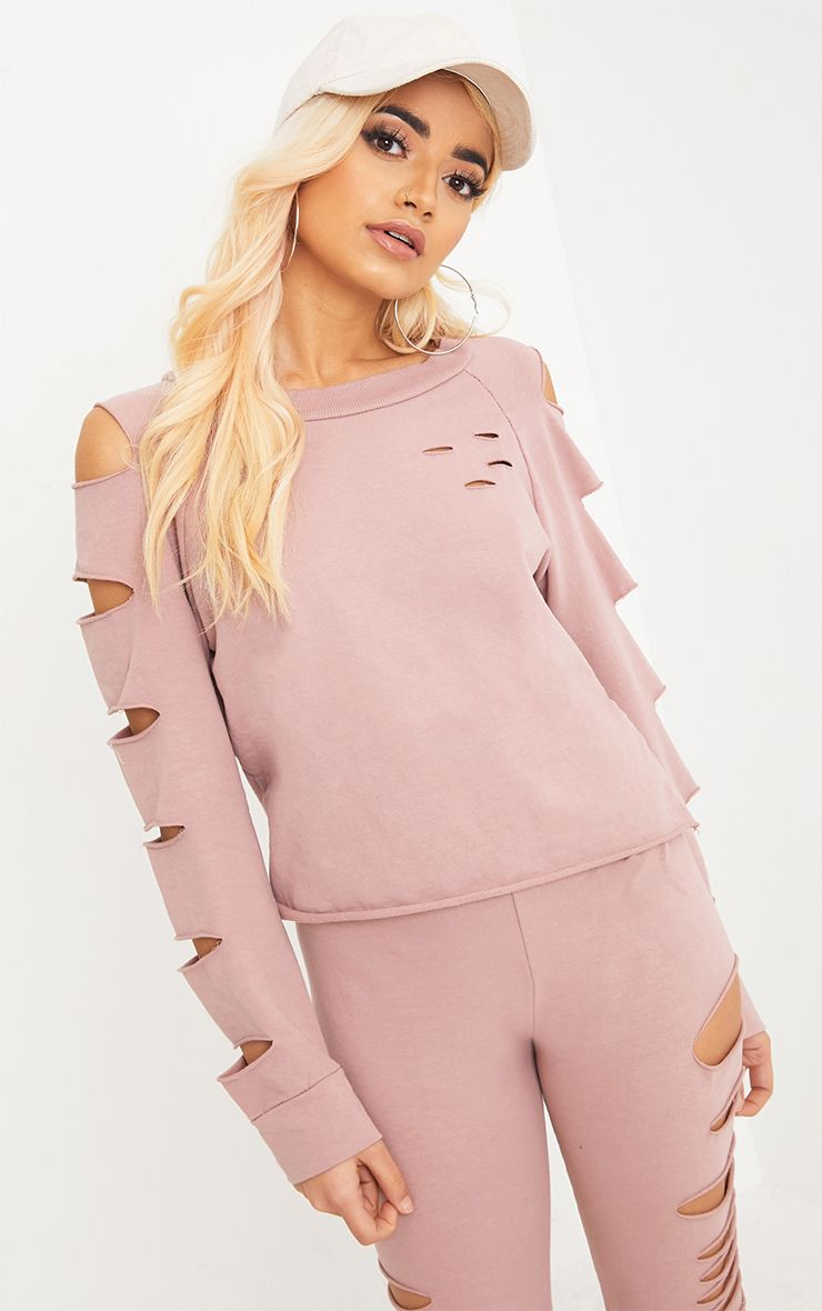 Carlie Pink Ripped Sleeve Sweater