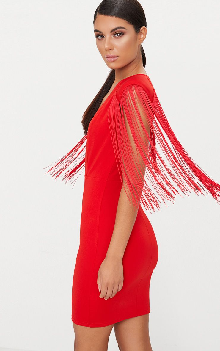 Red Tassel Shoulder Extreme Plunge Bodycon Dress Pretty Little Thing CNI03j