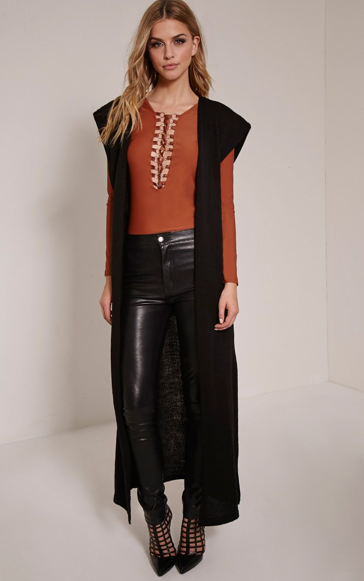 Talcia Black Knitted Longline Cardigan 1