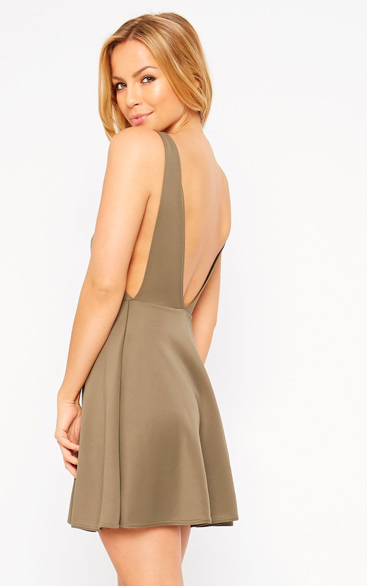 Ash Khaki V Back Scuba Skater Dress 1