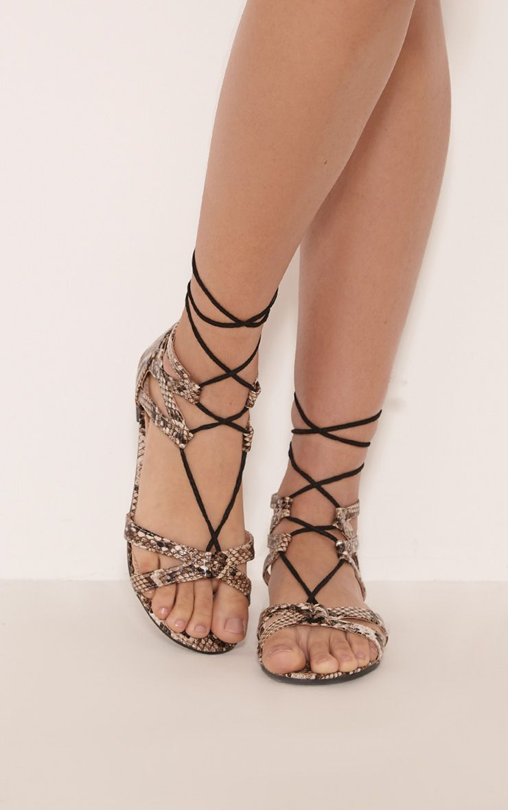 Lauri Snake Print Lace Up Sandals