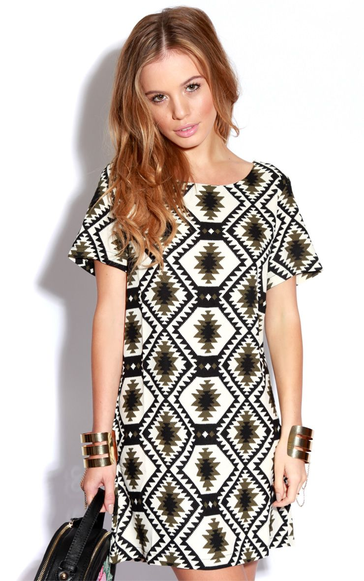 Millu Aztec Khaki Print Dress 1