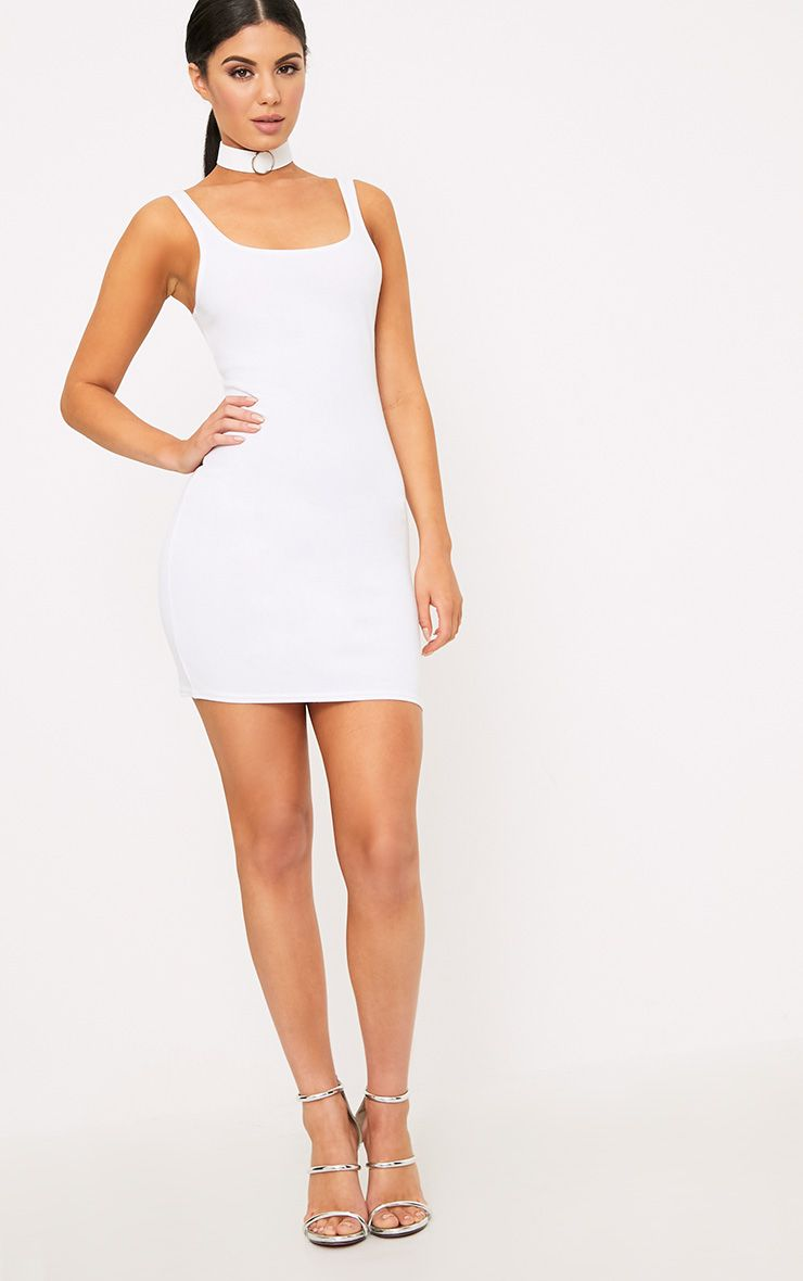White Scoop Neck Bodycon Dress