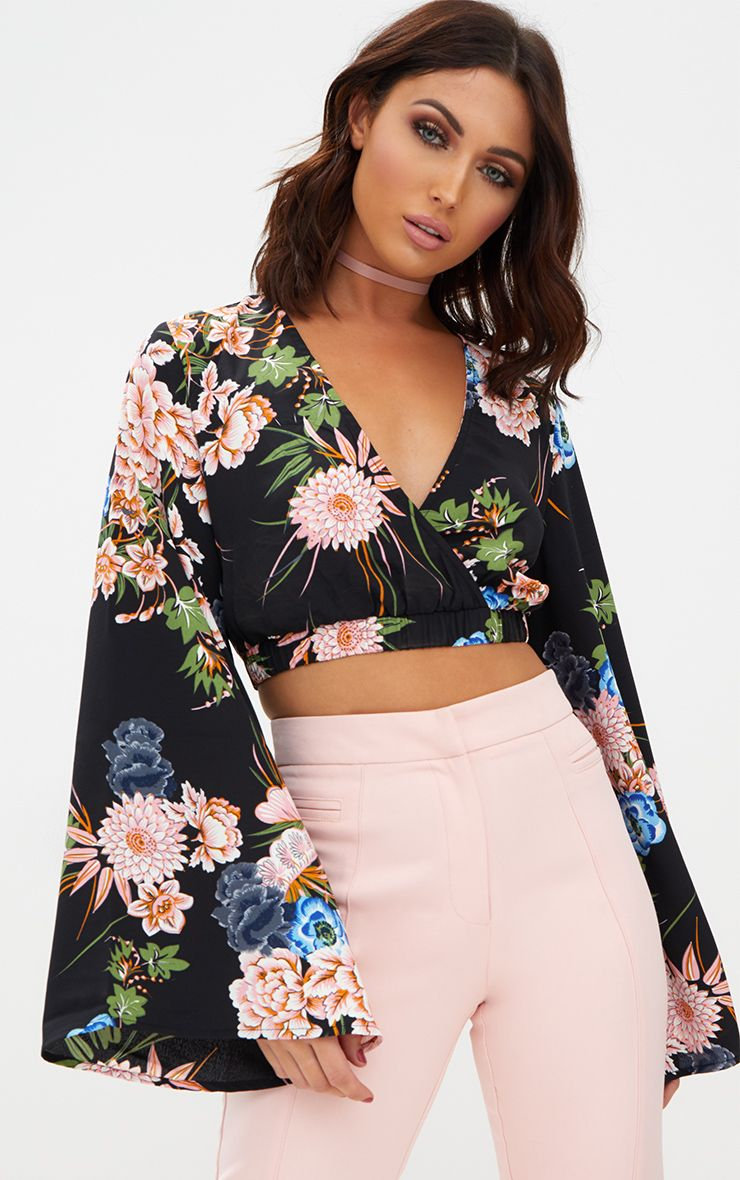 Black Floral Print Flare Sleeve Plunge Blouse