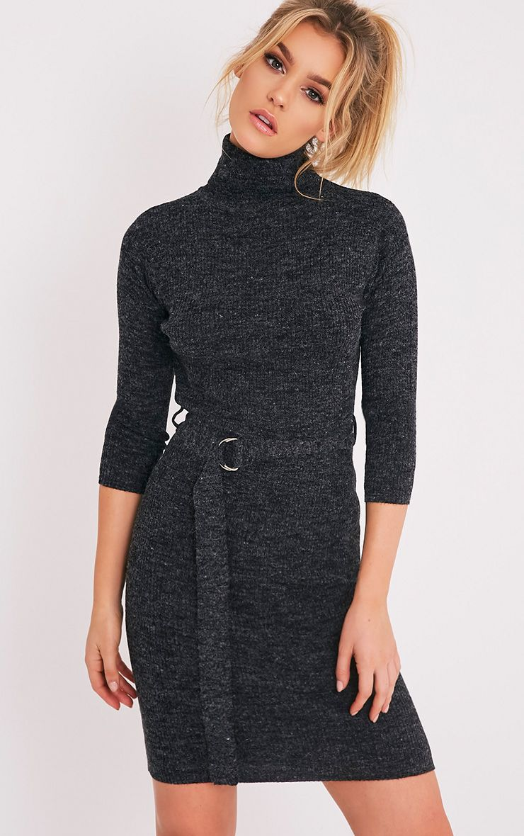 Marla Black D Ring Knitted Jumper Dress 1