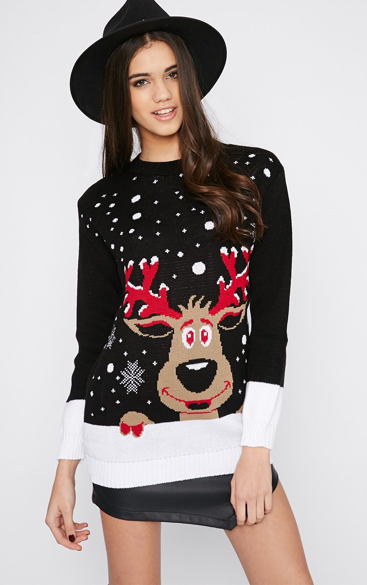 Shelby Black Rudolph Snow Christmas Jumper  1
