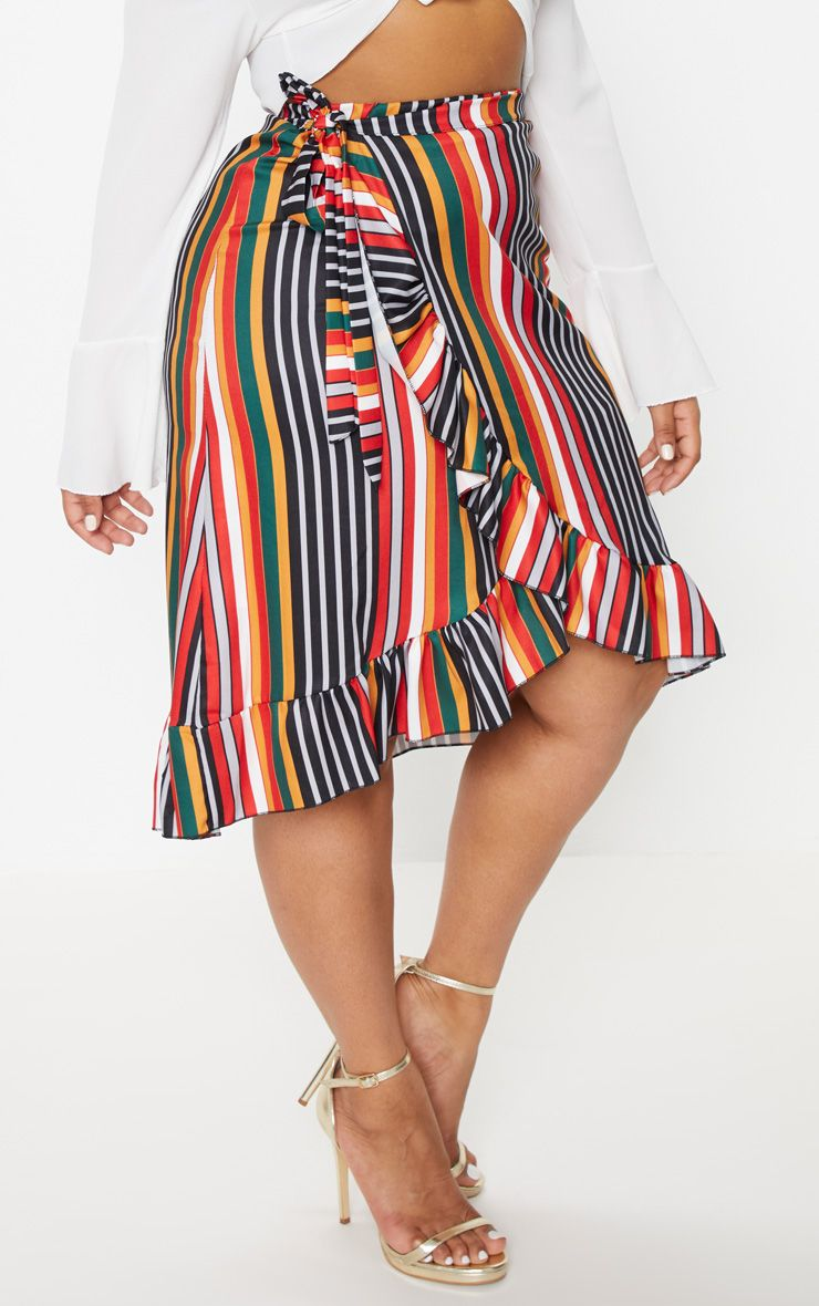 Plus Multi Striped Wrap Midi Skirt