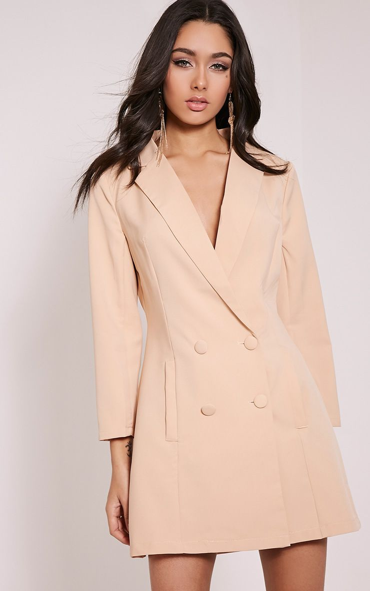 Tobyn Nude Double Breasted Blazer Dress 1