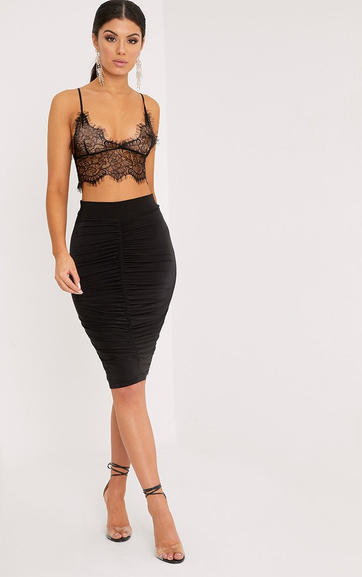Nicole Black Slinky Ruched Midi Skirt 1