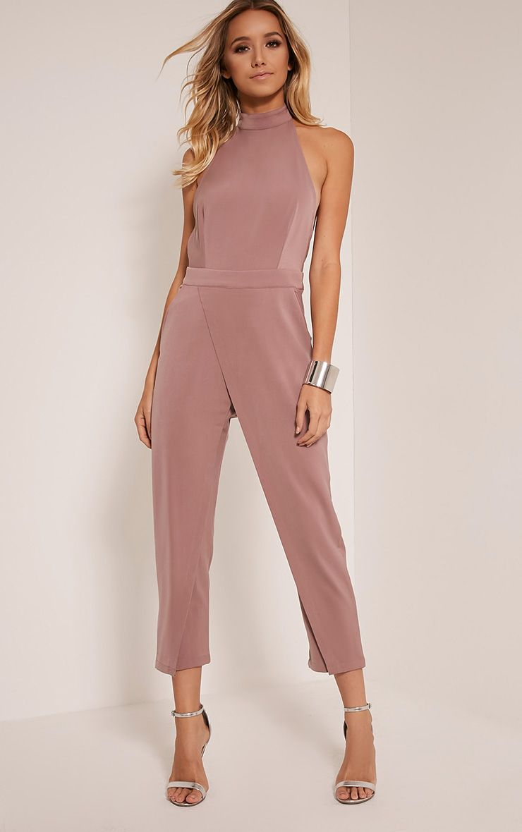 Carolinah Mauve Wrap Detail High Neck Jumpsuit