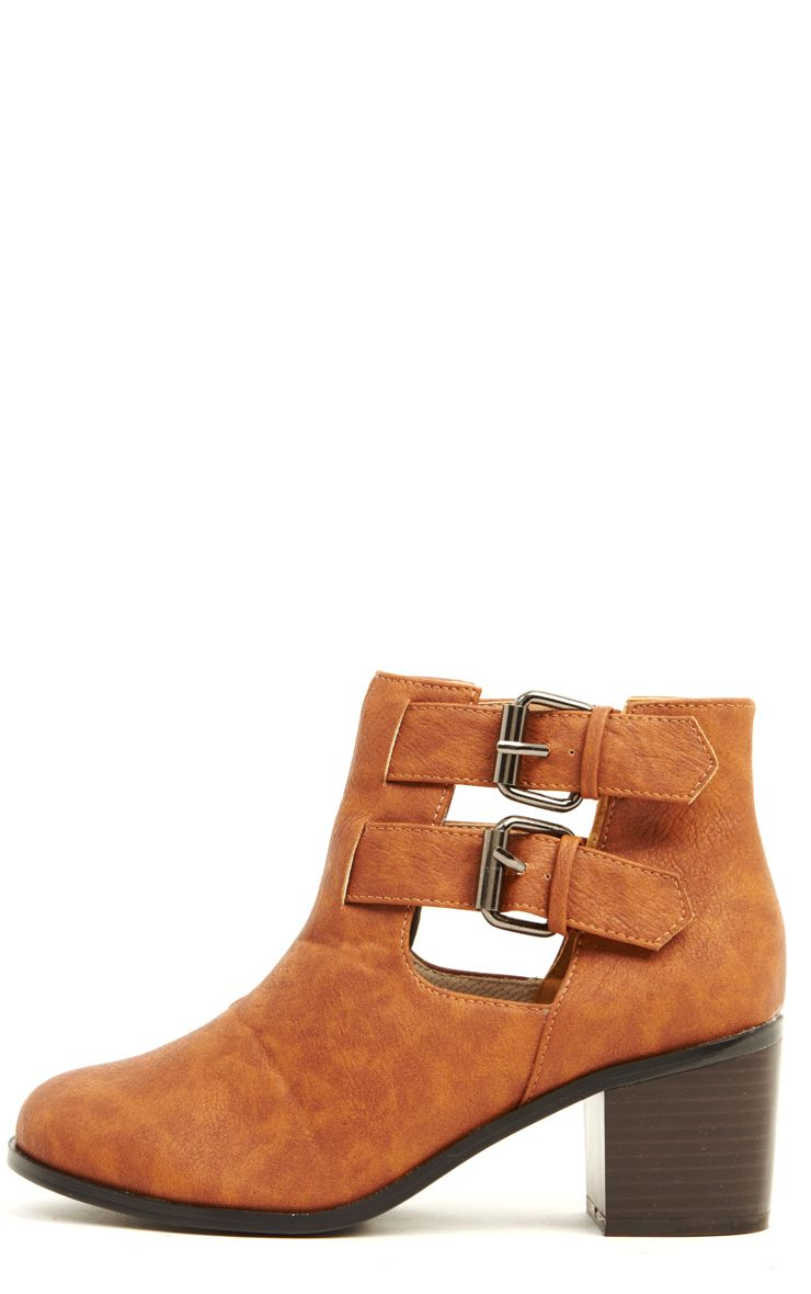 Enya Tan Leather Cut Out Ankle Boots  1