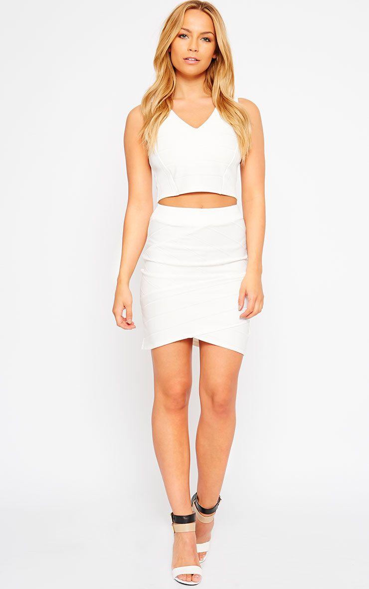 Kirsten Cream Bandage Mini Skirt 1