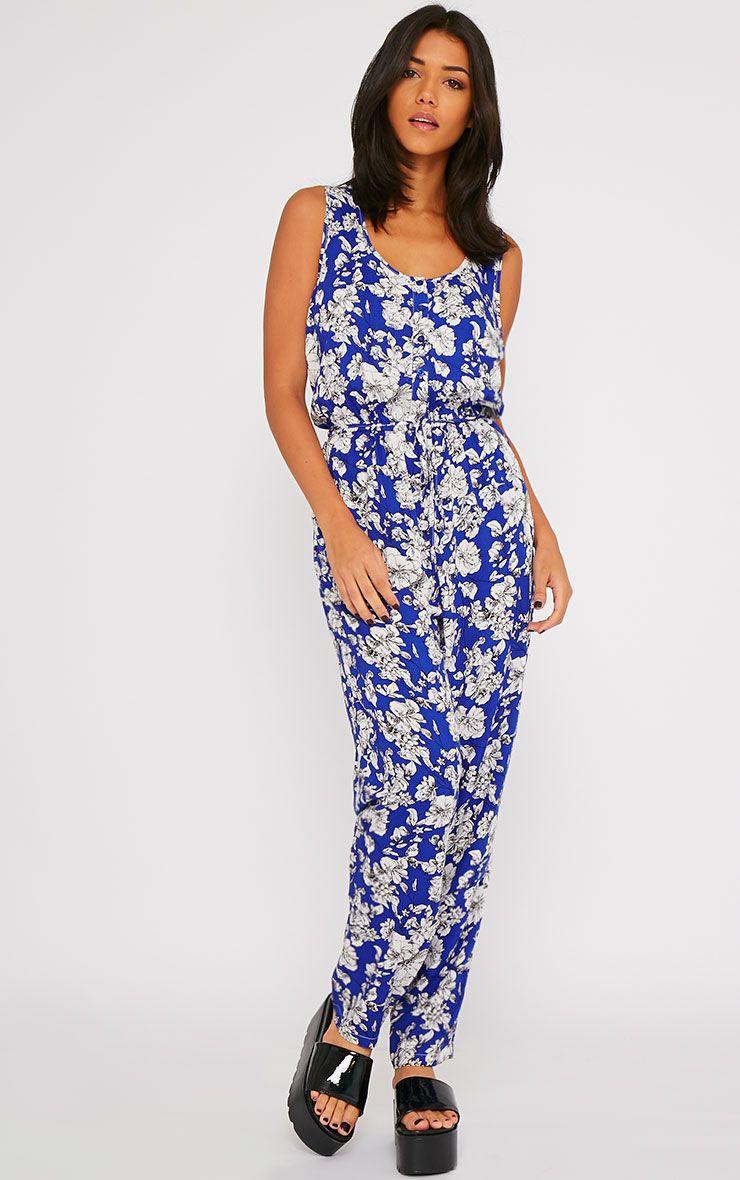 Elisa Blue Floral Print Jumpsuit  1