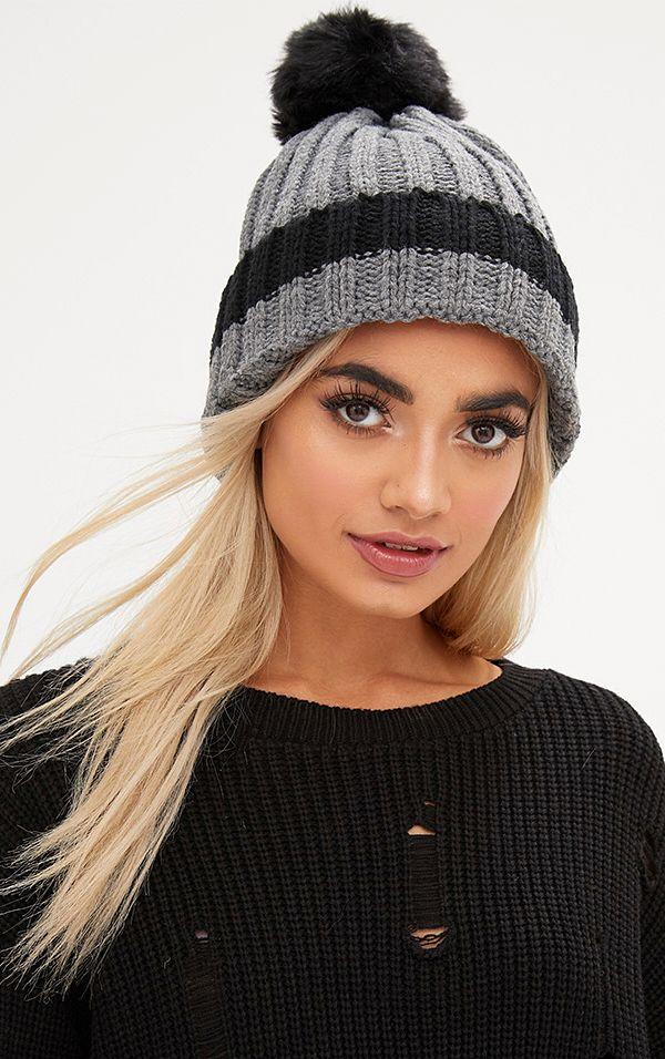 Black Ribbed Faux Fur Pom Hat