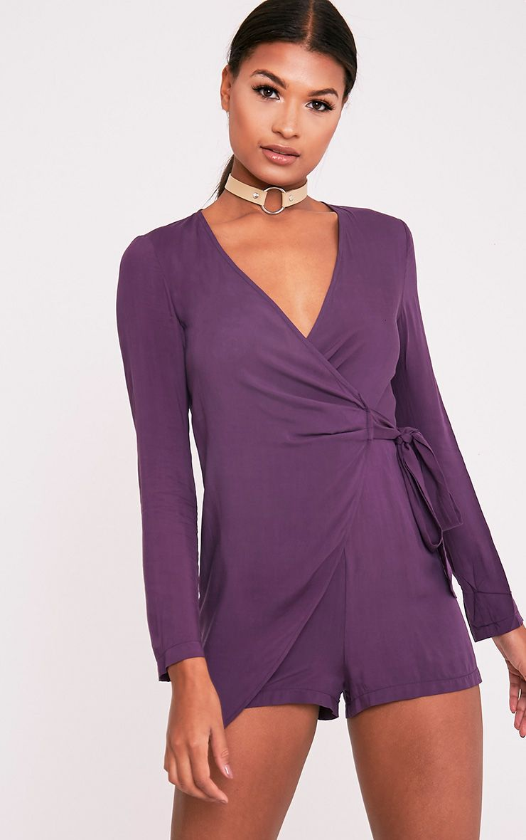 Shila Aubergine Tie Side Playsuit 1