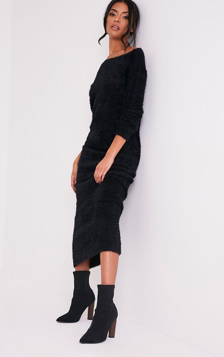 Idelle Black Fluffy Knit Maxi Dress