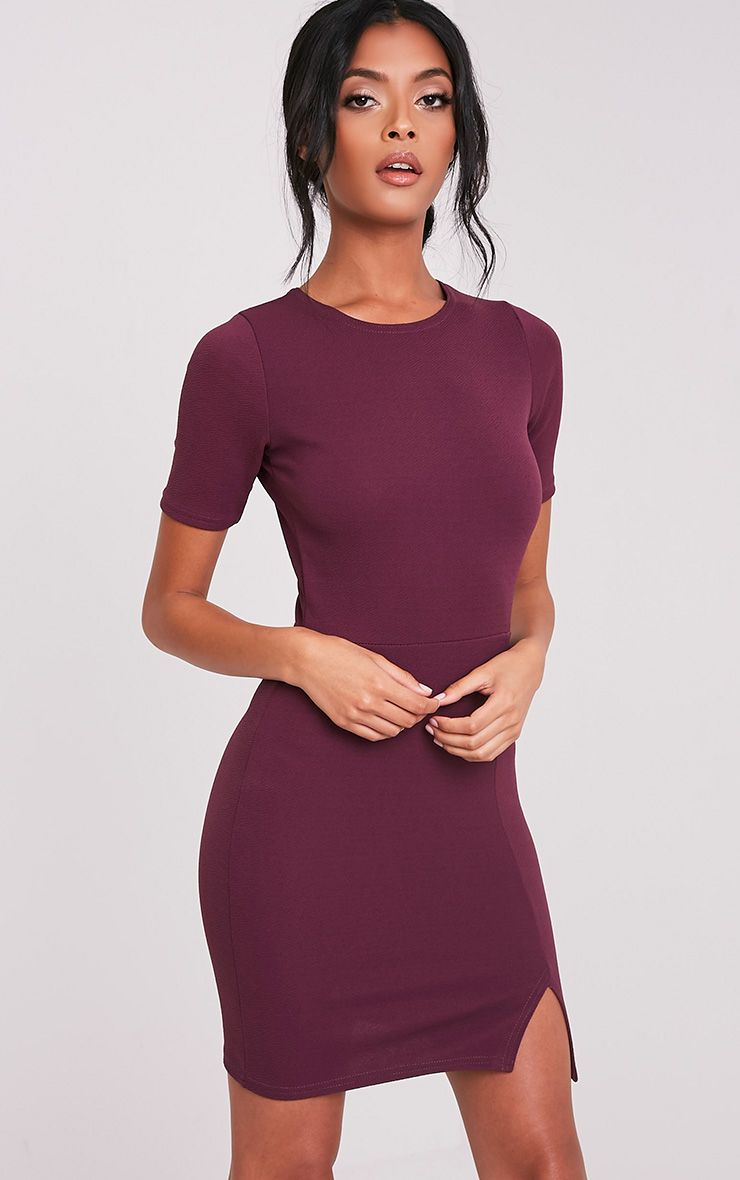 Freya Aubergine Split Detail Capped Sleeve Bodycon Dress