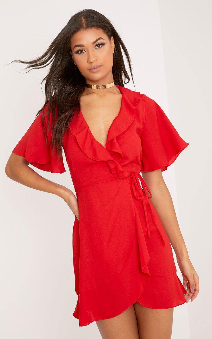 Mollie Red Frill Wrap Mini Dress