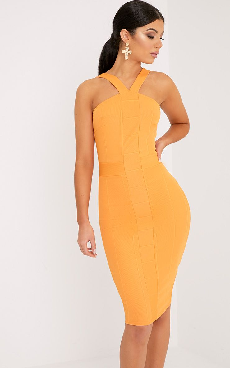 Meryl Bright Orange Bandage Strap Detail Bodycon Dress