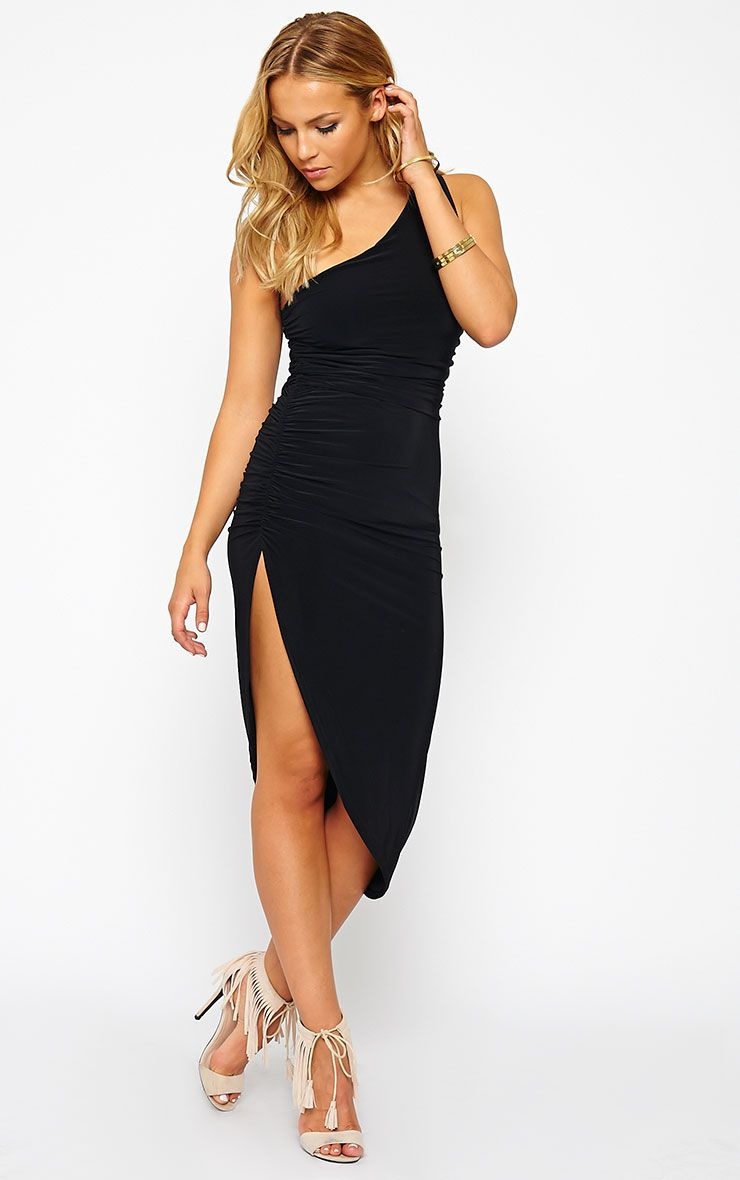 Lourdes Black One Shoulder Side Ruched Dress 1