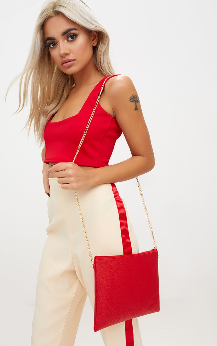 Red Croc Effect Basic Zip Clutch
