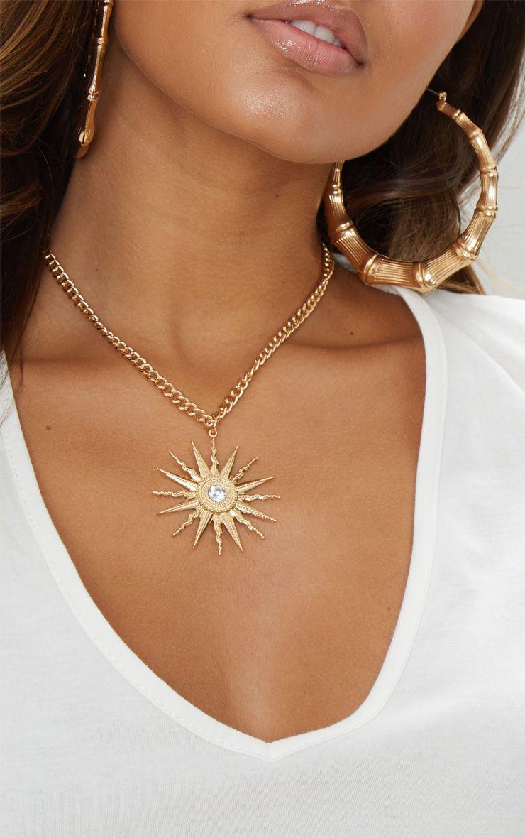 Gold Sundial Pendant Necklace 1