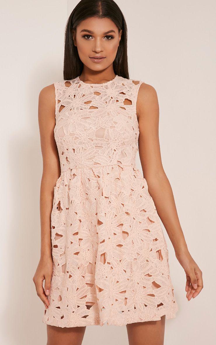 Antonia Nude Crochet Lace Skater Prom Dress