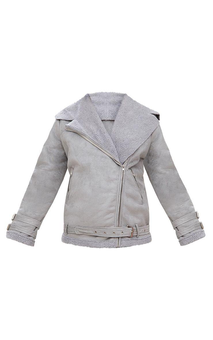 Emilia Grey Faux Suede Aviator Jacket 3